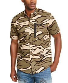 Sean John Men's Tiger Camouflage Military Flight Short Sleeve Shirt