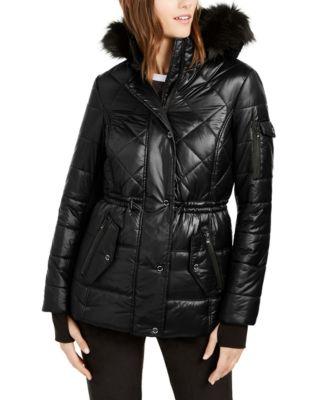 Active Faux-Fur Trim Hooded Anorak Puffer Coat