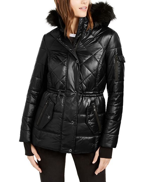 Michael Kors Active Faux-Fur Trim Hooded Anorak Puffer Coat