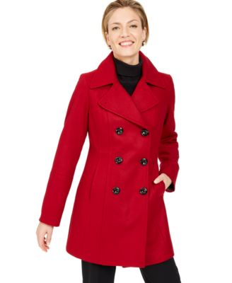 Petite Double-Breasted Peacoat, Created for Macy's