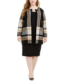 Kasper Plus Size Plaid Buckle-Front Topper Jacket