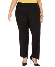 Kasper Plus Size Pull-On Compression-Waist Pants