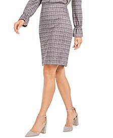 Metallic Plaid-Print Skirt