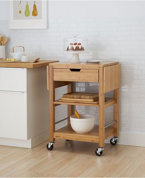 24 Bamboo Kitchen Cart with Drop Leaf