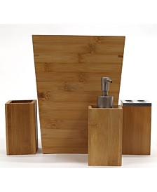 Redmon Bamboo 4 Piece Bathroom Accessory Set