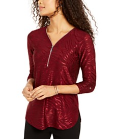 JM Collection Zipper-Trim Metallic-Print Top, Created for Macy's