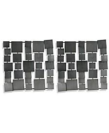 Grey Metal Square Panels - Set of 2
