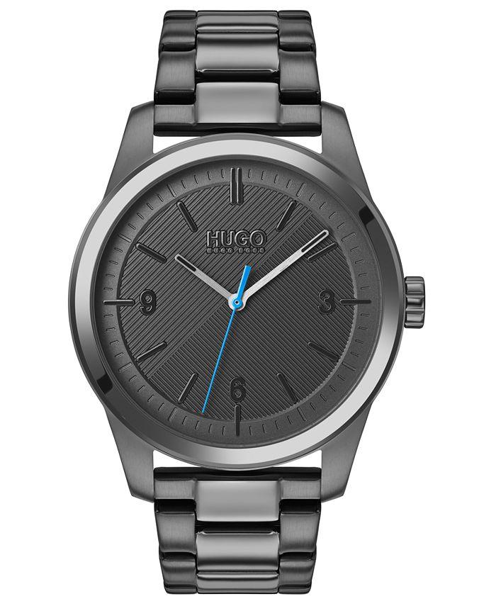 HUGO - Men's #Create Gray Stainless Steel Bracelet Watch 40mm