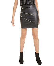 Zipper-Trimmed Faux-Leather Mini Skirt, Created for Macy's