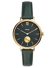 Women's Kalya Green Leather Strap Watch 36mm