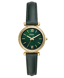 Women's Mini Carlie Green Leather Strap Watch 28mm