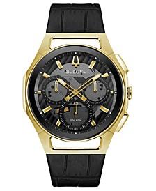 Men's Chronograph Curv Progressive Sport Black Leather Strap Watch 44mm