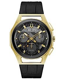 Bulova Men's Chronograph Curv Progressive Sport Black Leather Strap Watch 44mm