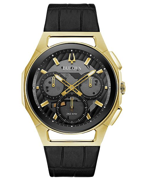 Bulova Men's Chronograph Curv Progressive Sport Black Leather Strap Watch 44mm