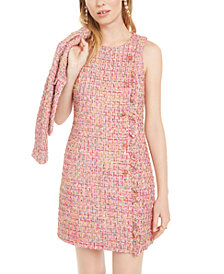 Betsey Johnson Rhinestone-Ruffle Tweed Dress