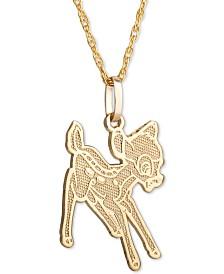 "Disney© Children's Bambi 15"" Pendant Necklace in 14k Gold"