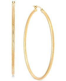 Polished Tube Hoop Earrings in 14k Gold