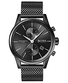 Men's Chronograph Jet Black Ion-Plated Stainless Steel Mesh Bracelet Watch 41mm