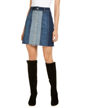 60s Skirts | 70s Hippie Skirts, Jumper Dresses I.n.c. Denim Patchwork Mini Skirt Created for Macys $41.70 AT vintagedancer.com