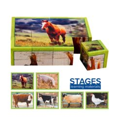 Stages Learning Materials Wooden Real Picture Farm Animal Cube Puzzle 12 pieces