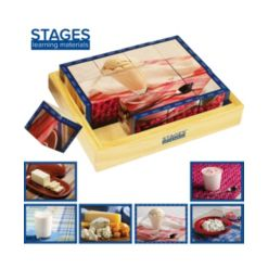Stages Learning Materials Real Picture Dairy Wooden Cube Puzzle 12 Piece