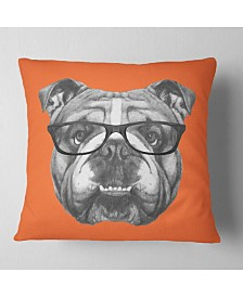 "Designart English Bulldog with Glasses Animal Throw Pillow - 16"" x 16"""