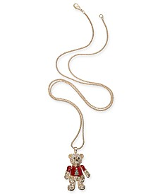 """Holiday Lane Gold-Tone Pavé Teddy Bear 36"""" Pendant Necklace, Created For Macy's"""