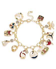Holiday Lane Gold-Tone Pavé 12 Days Charm Bracelet, Created For Macy's