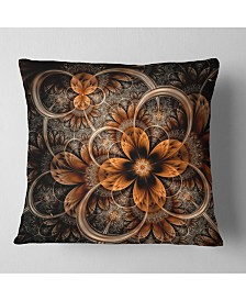 "Designart Dark Orange Digital Art Fractal Flower Floral Throw Pillow - 16"" x 16"""