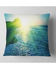 "Designart Foaming Blue Waves Seashore Throw Pillow - 26"" x 26"""