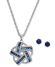 Charter Club Silver-Tone Cubic Zirconia Knot Pendant Necklace and Solitaire Stud Earrings, Created For Macy's