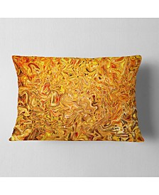 "Designart Textured Flowing Yellow Contemporary Throw Pillow - 12"" x 20"""