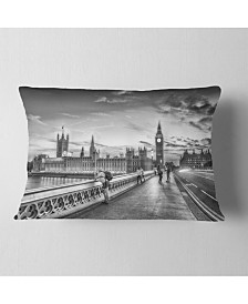 "Designart Beautiful Black and White London View Cityscape Throw Pillow - 12"" x 20"""