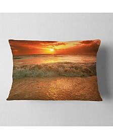 "Designart Amazing Beauty of Sun Reflection in Sea Seascape Throw Pillow - 12"" x 20"""