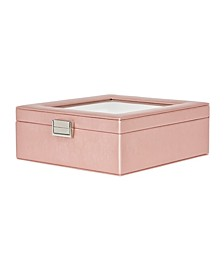 Mele Co. Iona Glass Top Jewelry Box in Metallic Faux Leather