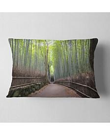 "Designart Arashiyama Bamboo Path Japan Forest Throw Pillow - 12"" x 20"""