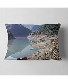 "Designart Majestic Mountain Lake Panorama Landscape Printed Throw Pillow - 12"" x 20"""