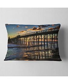 """Designart Pacific Ocean Sunset Oceanside Pier Modern Seascape Throw Pillow - 12"""" x 20"""""""