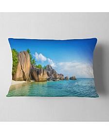 "Designart Fantastic Seychelles Seashore Seascape Throw Pillow - 12"" x 20"""