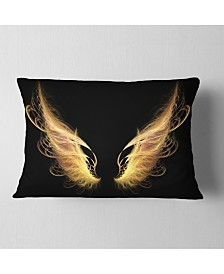 """Designart Golden Angel Wings on Black Abstract Throw Pillow - 12"""" x 20"""""""
