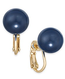 Gold-Tone Imitation Color Pearl (12mm) Clip-On Stud Earrings, Created for Macy's
