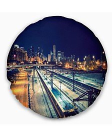 """Designart Welcome in Chicago Highway Traffic Cityscape Throw Pillow - 16"""" Round"""