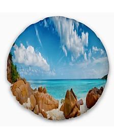 "Designart Rocky Seychelles Island Panorama Oversized Beach Throw Pillow - 16"" Round"