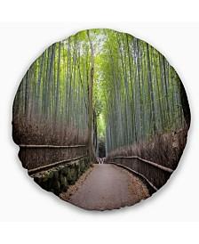 "Designart Arashiyama Bamboo Path Japan Forest Throw Pillow - 16"" Round"