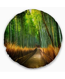 "Designart Arashiyama Bamboo Grove Japan Oversized Forest Throw Pillow - 16"" Round"