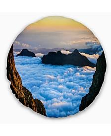 "Designart Gran Canaria Sunset over Clouds Seashore Throw Pillow - 16"" Round"