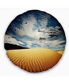 """Designart Sahara Desert under Clouds Landscape Printed Throw Pillow - 16"""" Round"""