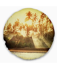 """Designart Bamboo Huts on Tropical Island Landscape Printed Throw Pillow - 16"""" Round"""