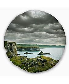 "Designart Icelandic Coast under Dark Clouds Seashore Throw Pillow - 16"" Round"