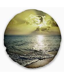 "Designart Tranquil Waves under Beautiful Clouds Seashore Throw Pillow - 16"" Round"